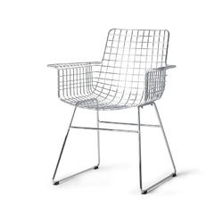 Hkliving :: krzesło metalowe wire z podłokietnikami chromowany