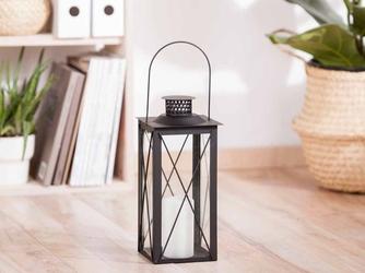 Latarenka  latarnia  lampion ozdobny wiszący metalowy altom design kwadratowa czarna 31 cm