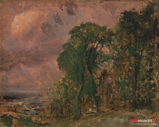 widok na hampstead w złą pogodę - john constable ; obraz - reprodukcja