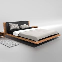 Dewniane łóżko do sypialni kuzma z tapicerowanym zagłówkiem