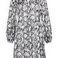 Sukienka satynowa bonprix biel wełny - szary z nadrukiem