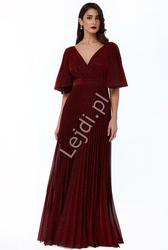 Długa plisowana suknia wieczorowa goddiva, ciemne wino agata konarska 2568