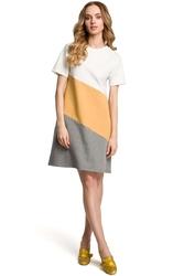 Biało żółto szara dziewczęca trapezowa sukienka z przodem w pasy