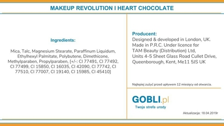 Makeup revolution 16 eyeshadows i love makeup i heart chocolate, cienie do powiek 22g