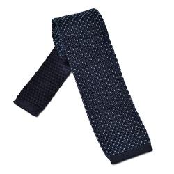 Granatowy krawat knit Hemley w błękitne kropeczki