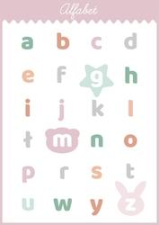 Słodki alfabet różowy - plakat wymiar do wyboru: 30x40 cm