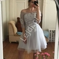 Szara krótka sukienka wieczorowa zdobiona koronką