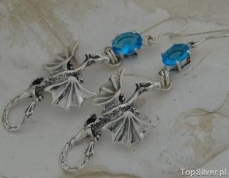 Dragon - srebrne kolczyki smoki z akwamarynem