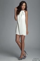 Ecru Mini Sukienka Tunika Bombka z Kwiatem