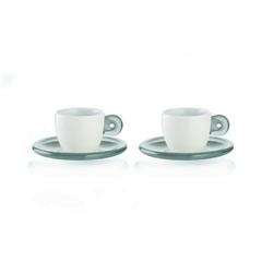 Guzzini - gocce - kpl. 2 filiżanek do espresso, szary - szary