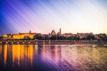 Warszawa panorama stare miasto - plakat premium wymiar do wyboru: 59,4x42 cm