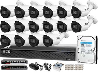 Monitoring ip zestaw do samodzielnego montażu bcs-nvr1601x5me-ii 16 kamer bcs-tip3201ir-e-v dysk twardy 1tb