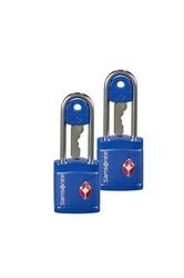 Dwie niebieskie kłódki zabezpieczająca na klucz z systemem tsa