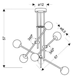 Lampa kryształowe kule na regulowanych ramionach paksos apeti a0032-360