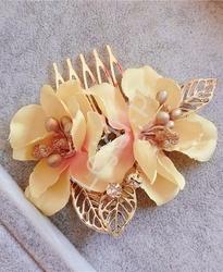 Spinka z żółtymi kwiatkami 3d i kryształkami