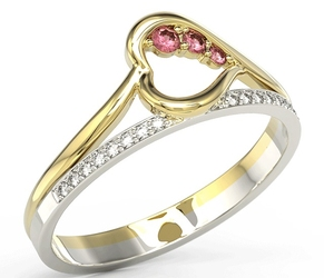 Pierścionek z żółtego i białego złota z rubinami i brylantami bp-83zb - żółte i białe  rubin
