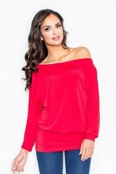 Czerwona bluzka z luźnym dekoltem i nietoperzowymi rękawami