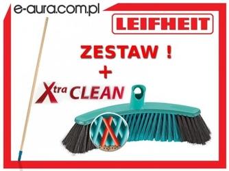 Szczotka leifheit xtra clean collect uniwersalna 30 cm 45030 z drewnianym drążkiem - system click.
