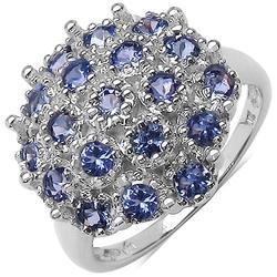 Tiffany srebrny pierścionek tanzanity koktajlowy