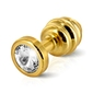 Sexshop - prążkowany ozdobny plug analny - diogol ano butt plug ribbed  gold plated 25mm złoty - online