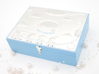 Szkatułka duża niebieska pociąg konik miś chrzest roczek pamiątka chrztu z grawerem - szkatułka duża niebieska