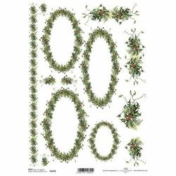Papier ryżowy ITD A4 R1470 Świąteczne ramki