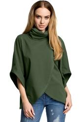 Bluza kopertowa z golfem i szerokimi rękawami zielona m372