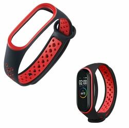 Sportowy pasek opaska alogy do Xiaomi Mi Band 34 czarno-czerwony - Czerwony || Czarny