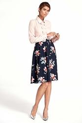 Granatowa stylowa  rozkloszowana spódnica w kwiaty