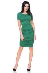 Zielona sukienka bodycon drapowana na bokach
