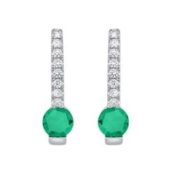 Staviori kolczyki. 16 diamentów, szlif brylantowy, masa 0,11 ct., barwa h, czystość si2. 2 szmaragdy, masa 0,50 ct.. białe złoto 0,585. średnica 3,9 mm. długość 12 mm.