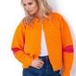 Pomarańczowy krótki kardigan marynarka z kolorowymi łatami