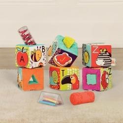 Klocki materiałowe z sorterami - abc block party, b.toys, 6 m+
