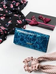 Skórzany portfel damski niebieski lorenti 72401 - niebieski