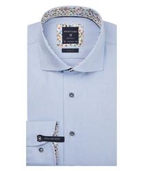 Ekstra długa niebieska koszula profuomo z wstawkami slim fit 42