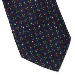 Elegancki granatowy krawat bigi w czerwono-niebieskie kwiaty i liście
