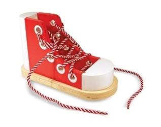 Czerwony trampek but do nauki sznurowania