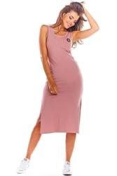 Bawełniana dopasowana różowa sukienka z rozporkami