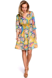 Rozkloszowana Wzorzysta Sukienka z Guzikami - Model 2
