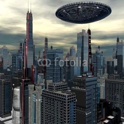 Obraz na płótnie canvas dwuczęściowy dyptyk obcy statek ufo w futurystycznym krajobrazie