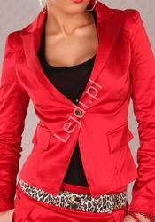 Żakiet damski czerwony z guzikami na mankietach v703