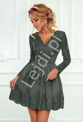 Koronkowa sukienka wieczorowa o rozkloszowanej spódnicy, oliwkowa  - amelia