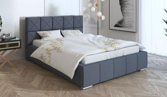 Łóżko tapicerowane do sypialni piazza z pojemnikiem na pościel