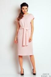 Jasno Różowa Sukienka Midi z Paskiem