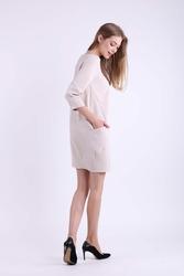Krótka Dzianinowa Beżowa Sukienka z Kieszeniami