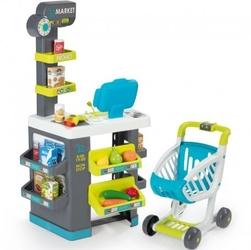 Smoby market elektroniczna kasa sklepik światło dźwięk 34 akcesoria wózek