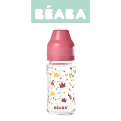 Butelka szklana szerokootworowa 240 ml Yellow  Pink Crown, Beaba