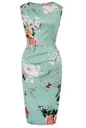 Miętowa sukienka ołówkowa z modnym marszczeniem 616
