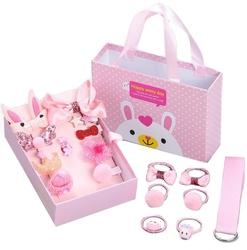 Zestaw dla dziewczynki różowy spinki gumki prezent - różowy