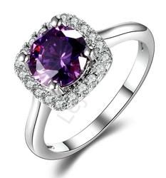 Srebrny zaręczynowy pierścionek z ametystem